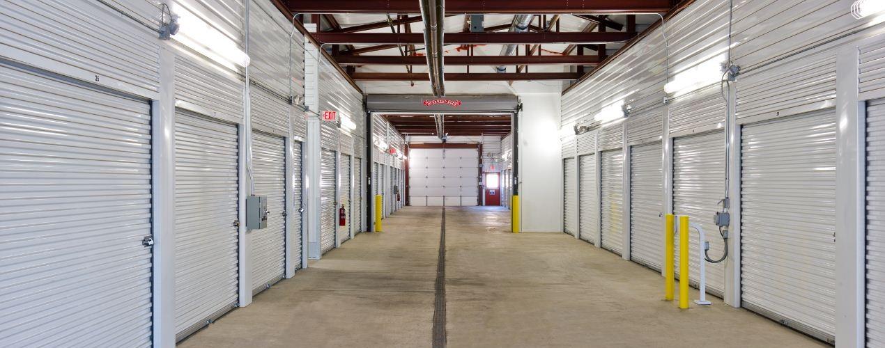 line of self storage units