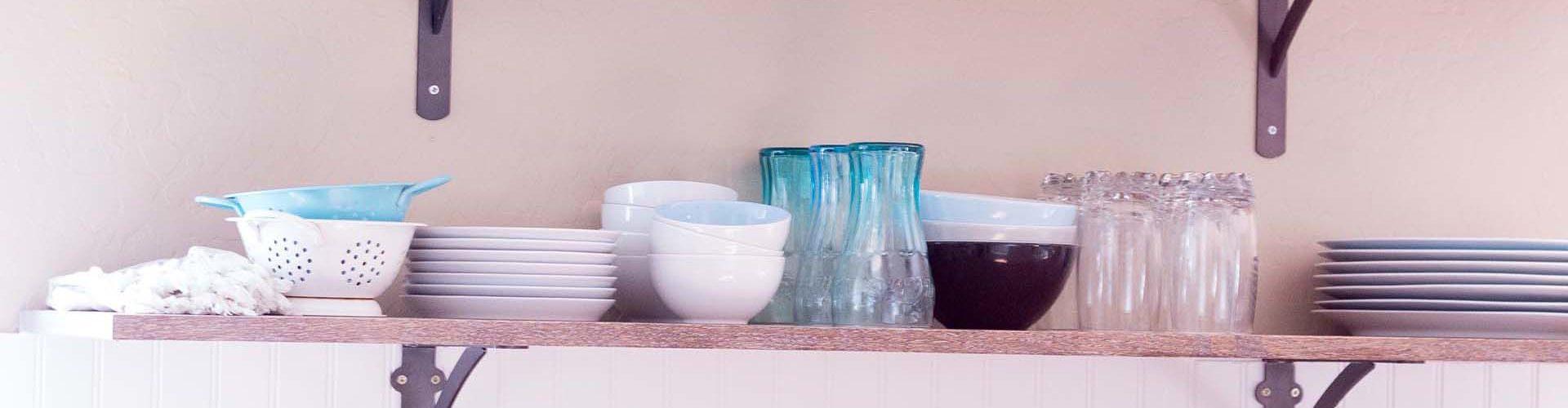 kitchen open shelving dish storage counter