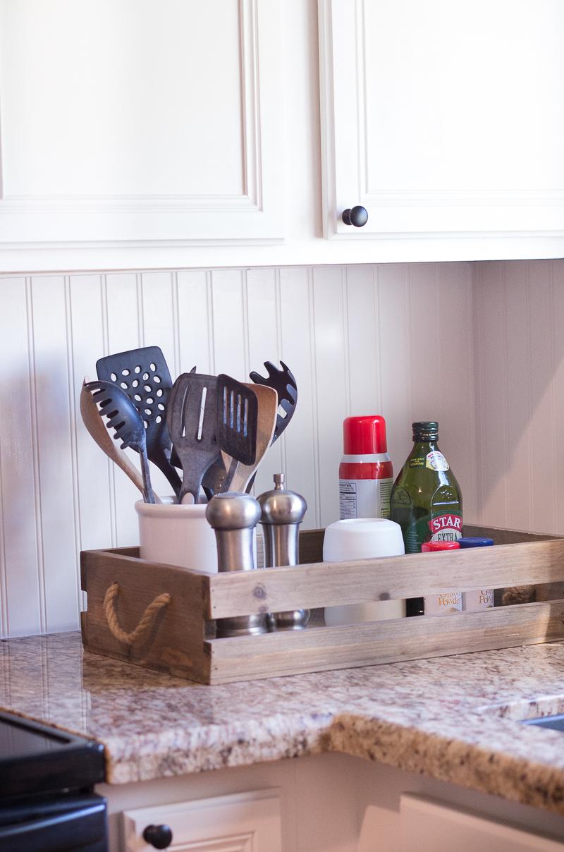 counter crate kitchen utensils ingredients