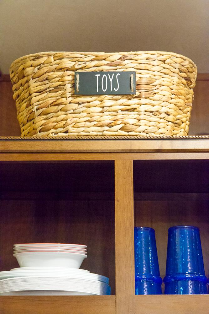 wicker basket top shelf rv storage ideas