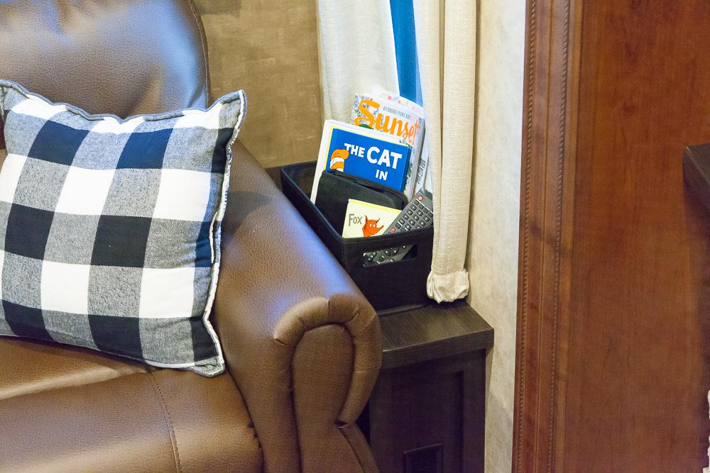 couch side basket remote books organization rv