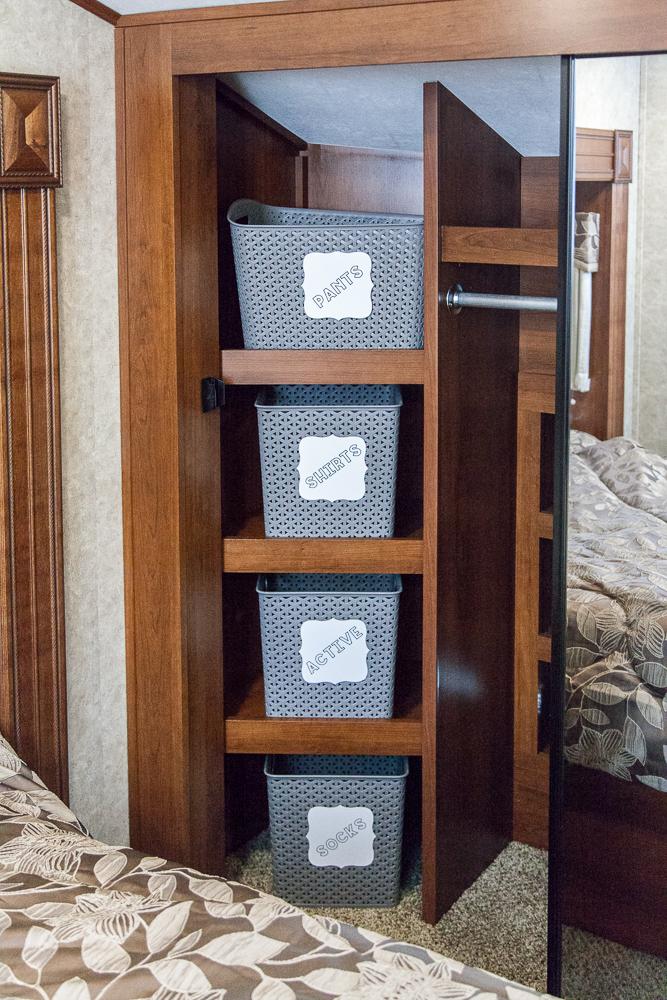 closet rv storage ideas clothes labeled baskets