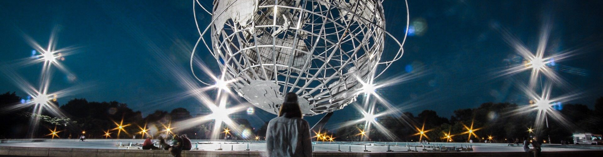 The Unisphere at night outside of the U.S. Open in Flushing, Queens
