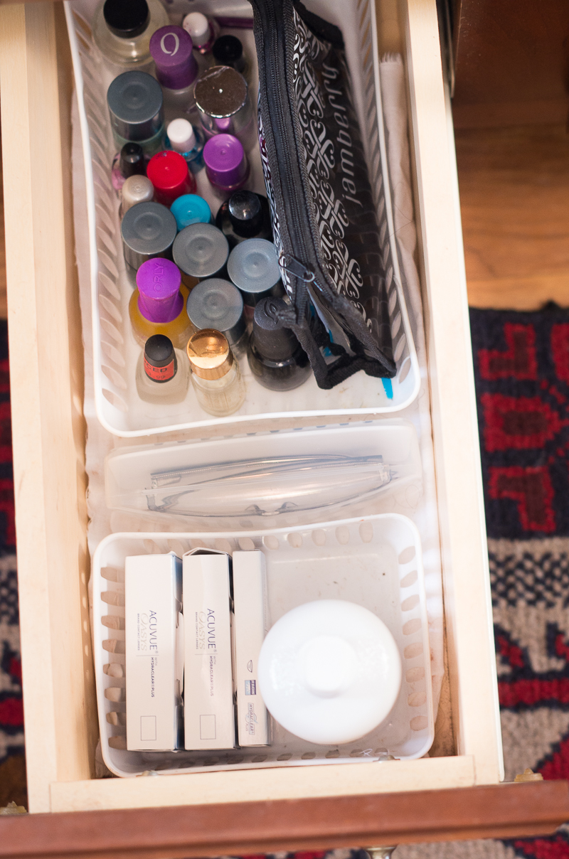 Bathroom Organization Ideas: drawer divider baskets for smaller items