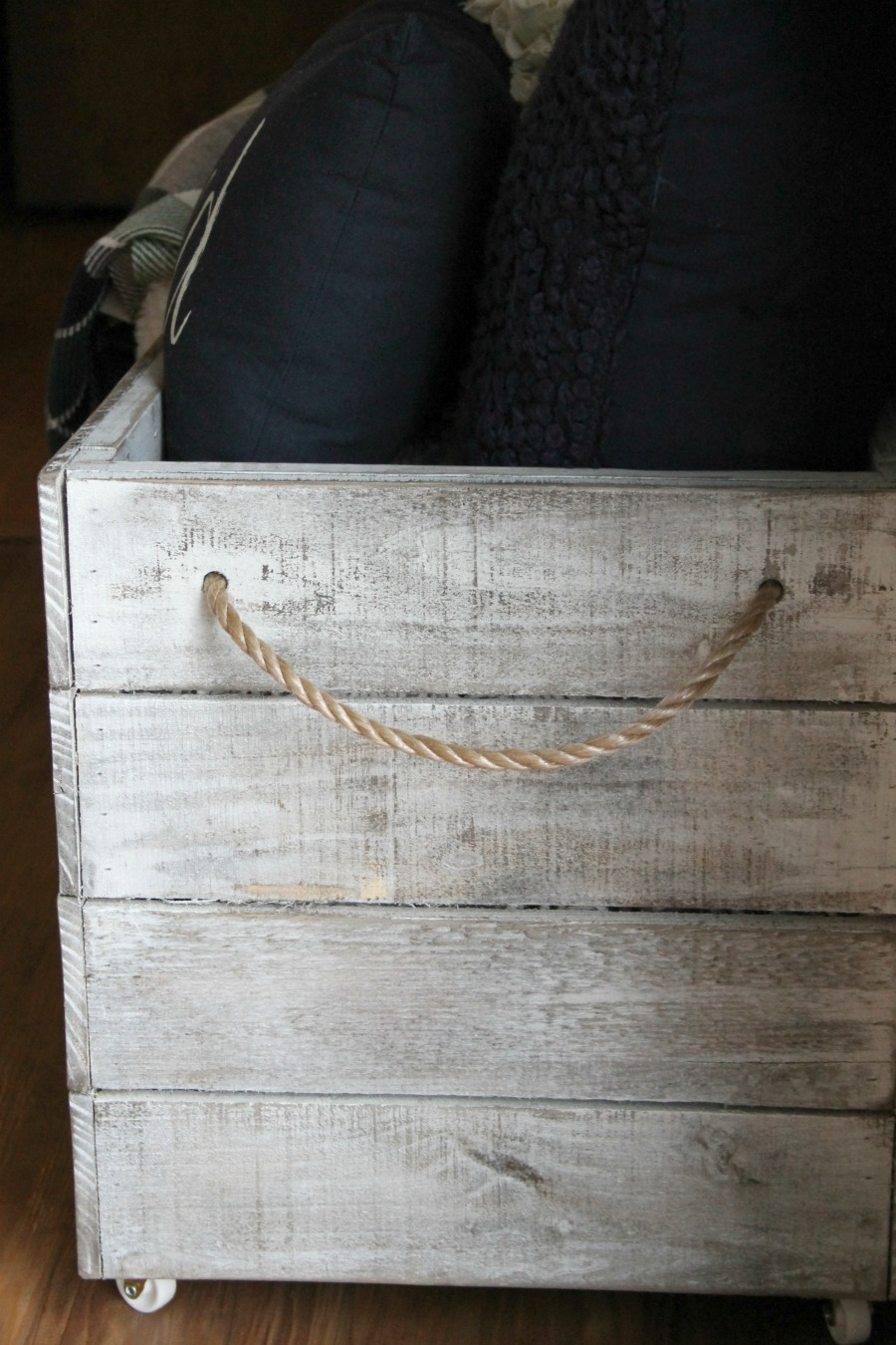 DIY wooden crate on wheels finished