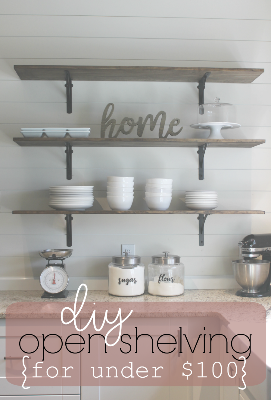 How to build DIY kitchen shelves - Pinterest image